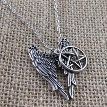 Antique Silver Supernatural Necklace Pentagram Pendant Castiel Wings Angel Wicca US SELLER Movie Jewelry
