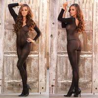 Long Sleeve Sheer Nylon Crotchless Bodystocking Sexy Women Body Stockings Bridal Lingerie Bodysuit