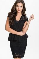 Sexy Black Work Dress Free Shipping M/L 2 Colors ML18149 Cheap Short Lace Mini Bodycon Dress Womens Peplum Dresses