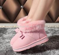 2014 Women Winter Shoes New Fashion Artificial Fox Rabbit Fur Snow Winter Warm High Pink Fashion Autumn Ankle Boots 36-40