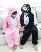 Winter Warm animal Hooded Children Pyjamas Cute Flannel Jumpsuit pink and black pig sleepwear
