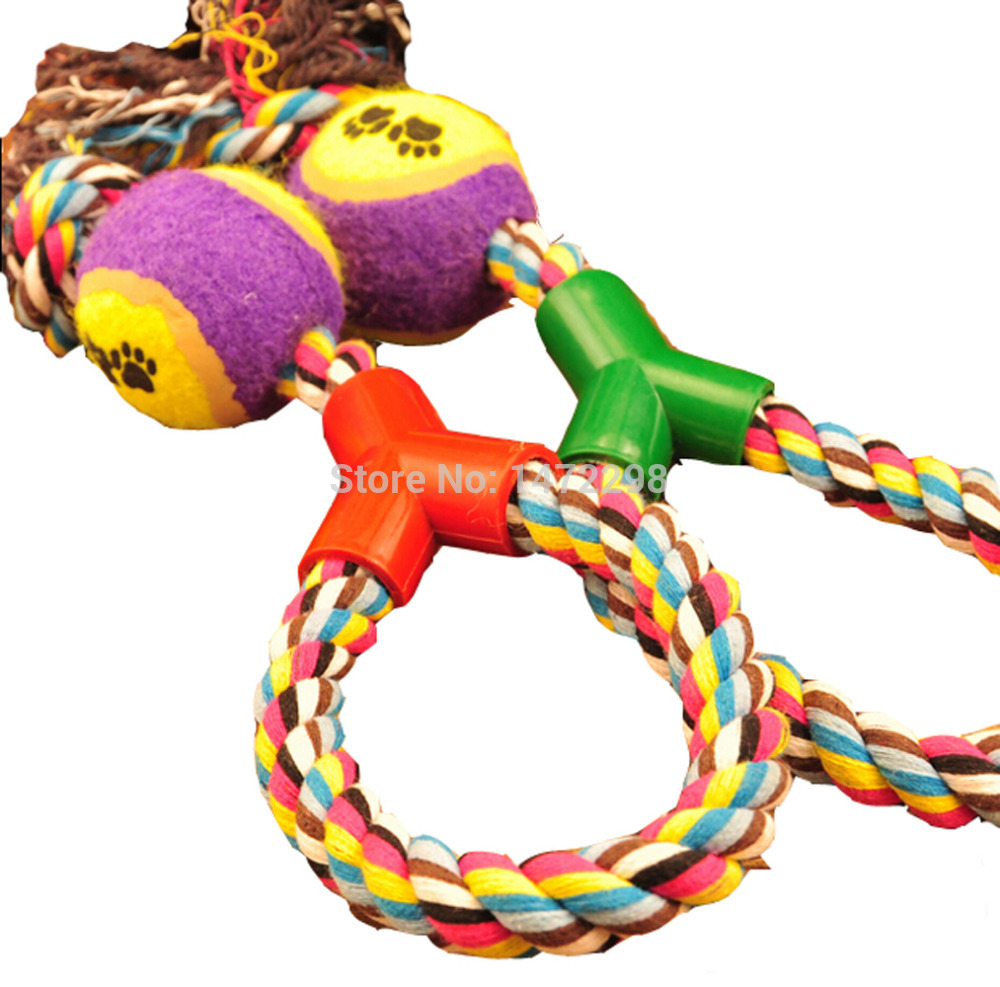 Braided Rope Tennis Ball Grinding Clean Teeth Playing Chew Exercise Toy for Pet(China (Mainland))
