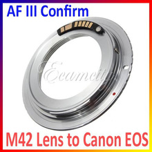 AF Confirm Chip Brass M42 Lens to for Canon EOS Mount Adapter Silver 60D 50D 40D 600D 550D 500D Free Shipping
