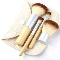 High quality Makeup Brushes 4PCS Natural Bamboo Handle Set Cosmetics Tools Kit Powder Blush Brushes with Hemp linen bag