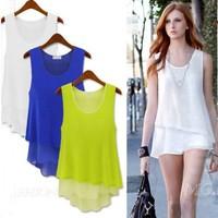 Free shipping !!!Summer Chiffon camisole Long Vest T-shirt  Women Double Layer Sleeveless Blouse 88330