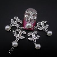 50pcs  Glitter Brand pendant nail art chains alloy 3d nail jewelry DIY decorations nail supplies MNS786
