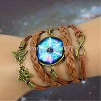 28 Style Optional Galaxy Bracelet Lovely Color galaxy nebula space glass dome bracelet Bronze Tone suede leather Vintage Jewelry