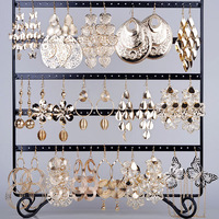 Mix Wholesale 12 Pairs/lot Hollow Gold P Big Drop Earrings For Women Mix Styles Vintage Hollow Gold Plated Big Dangle Earrings