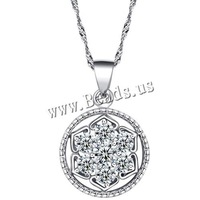 Free shipping!!!925 Sterling Silver Pendant,tibetan, Flower, platinum plated, with cubic zirconia, 16x26mm, Hole:Approx 2-7mm