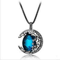 Fashion jewelry 2014  Snake chain necklaces & pendants  sweater chain  Retro Hollow Moon  Long Paragraph Pendant Necklace