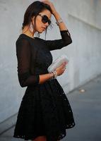Free shipping!Elegant Women's Slim fashion long sleeve black  Sexy party evening cocktai Dress xmas gift