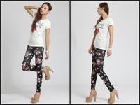 wholesale Slim thin Women's favourite  Korean fashion leggings women Denim Leggings BLack Roses  Free shipping 25003