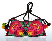 Women's Floral Embroidery Messenger Bags Shoulder Bag Evening Handbag Fashion 10 Plush Ball Charm IPAD Mini Pouch Christmas Gift