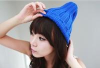 2014 New Women Hat Cute Candy Color Knit Hat Steeple Women Caps Solid Chapeu Feminino Winter Hat Women Beanies Warm Wool Hats