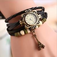 New Fashion Relogios Femininos Genuine Leather Women Dress Watch,Eiffel Tower Pendant Vintage Bracelet Wristwatches For Women