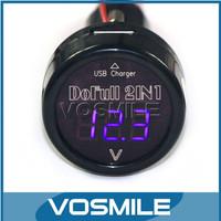 12V24V Car Charger Car Voltmeter 2in1 USB Car Charger Cigarette Lighter Car Battery Voltage Monitoring Blue # 100002