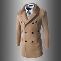 2015 new winter men's casual Long coat wool coat male trench coat for men