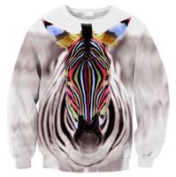 2015 Women Men 3D Hoodies Harajuku Sweatshirt Animal Colorful Zebra Print Pollover Steetwear Sportwear