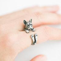 Wholesale Hot Fashion Bulldog Animal Wrap Ring -For Woman and Ladies Free Shipping