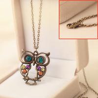 Good Quality Vintage Crystal Owl Pendant Necklace, Retro Gold Chain Rhinestone Animal Necklace, Women Costume Jewellery