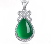 Sterling Silver Jewelry Natural Green Chalcedony Jade Pendant Necklace