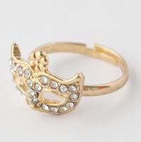 New Fashion Vintage Korean Bohemian Magic Mask Flower Full Rhinestones Ring Jewelry 5g