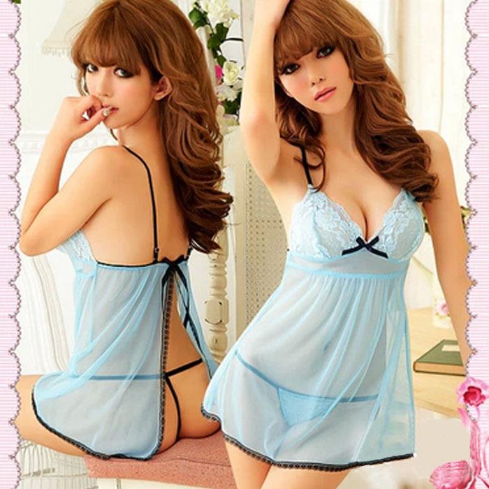 Trustworthy Sexy Costumes Erotic Lingerie Fashion Babydoll Women Blue Sexy Racy Lingerie Sleepwear Dress+Thongs To-Better(China (Mainland))