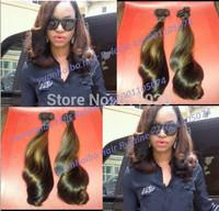 Top grade 6a quality 3pcs/lot ombre highlight color peruvian tip bouncy curl virgin aunty funmi hair for black women