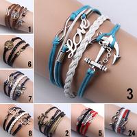 Girl Jewelry Vintage Braided Anchors Rudder Metal Leather Bracelet Multilayer Rope Bracelets Wrap Bracelets Wholesale Bangle
