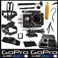 Gopro Original WiFi SJCAM SJ4000 Go pro Camera With Monopod Floating Bobber Tripod 360 degree Hand Strap Go-pro Case Mount Kit