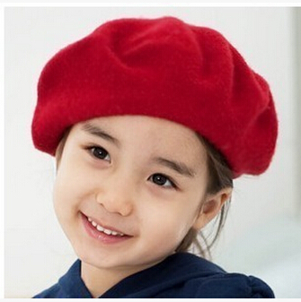 Free Shipping 2015 new arrive baby beret girl sweet wool hat autumn and winter Painter cap #P0607(China (Mainland))