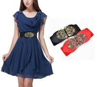 FREE SHIPPING !!!women  Wide Waistband Waist Belt retro adjustable Flower Elastic Stretch Buckle Y120