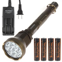 Securitylng Kharki 13000 Lumens 12 x CREE XM-L T6 LED Waterproof Flashlight with 18650 Batteries and Traveling Charger Torch