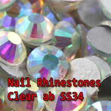 Plana volta Non hotfix rhinesotnes 30 6.2 – 6.4 mm Clear AB / cristal AB 288 pcs melhor quatily nail art strass de vidro