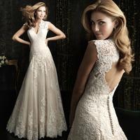 Good Quality! 2015 New Free Shipping V Neck Cap Sleeve Lace Mermaid White Wedding Dresses vestido de noivas