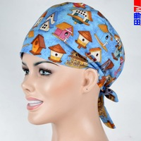 medical caps,scrub caps in blue with buildings pattern with SWEATBANDS