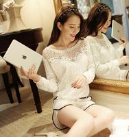 New arrival 2014 Autumn spring fashion Korean women chiffon shirt short section loose long-sleeved white shirt lace women shirt