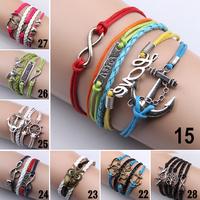 Women Vintage Heart Love Infinity Anchors Rudder Rectangle Leather Bracelet Multilayer bracelets&bangles