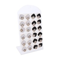 Women Hollow Square Style Resin Earrings Ear Stud Pin 12 Pair Black White    65229