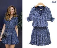 New Arrival Women Vintage Dress Blue Flower Print Dresses Scallop V Neck Casual Clothing