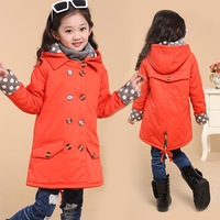 Monsoons in autumn and winter clothes for children, the newest girls cotton coats, children wear long double breasted