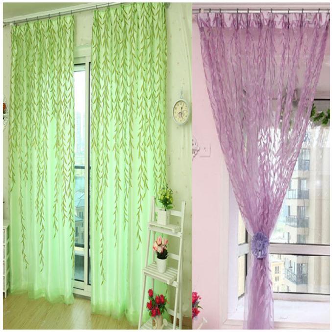 2014 new 2x1 m cortinas Willow Tulle Door Window Curtain Drape Panel Sheer Scarf Valances Purple&Green cortina To-Better(China (Mainland))