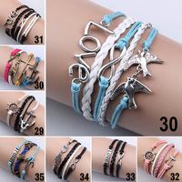 Women Vintage Bird Love Infinity Anchors Rudder Rectangle Leather Bracelet Multilayer bracelets&bangles