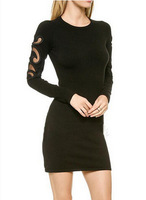 New Embroidery Hollow Out Lady Sexy Dress Long Sleeve O Neck Women Slim Dress Black YS93302