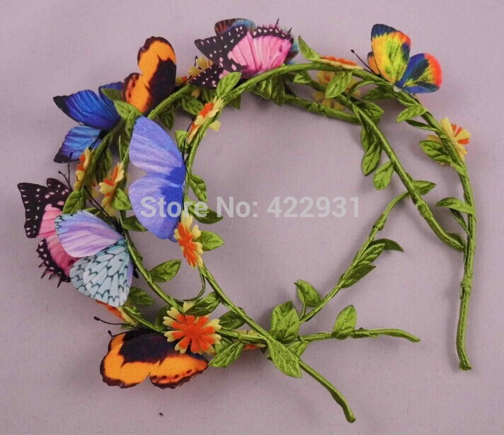10pcs/lot Unique infant headbands baby girl hair accessories Imitation Butterfly and flowers head bands accesorios para el pelo(China (Mainland))