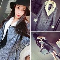 2014 Winter suit collar design inside zipper locomotive horn button ruffled trench fur long coats woman