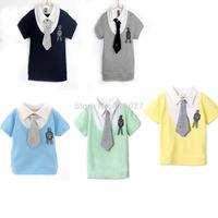 5 colors baby t shirt short sleeve for summer kids tshirt collar gentleman clothes 5pcs/lot wholesale children boy wear garment