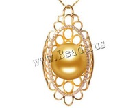 Free shipping!!!Golden South Sea Pearl Pendant,women fashion, with  & 18K Gold, natural, gold, 14-15mm, Hole:Approx 3-5mm