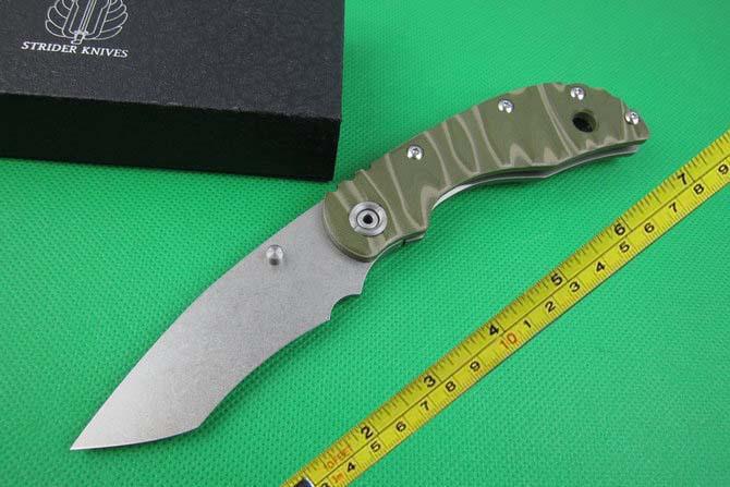 FREE shipping New D2 CNC Titanium alloy +G10 Handle Strider SMF SNG Folding Pocket Knife DF20(China (Mainland))