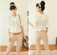 Free shipping !! solid botton casual spirals shirt blouse  women's shirt V-neck chiffon elegant all-match  Y405